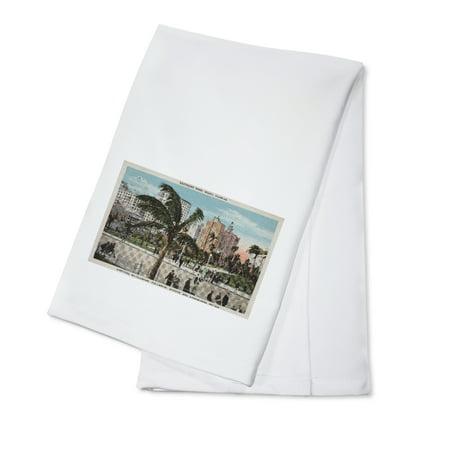 Miami  Florida   View Of Bayfront Park   Hotels   Vintage Poster  100  Cotton Kitchen Towel