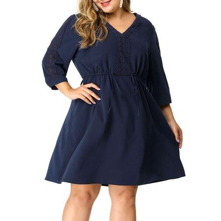 Women's Plus Size Tie Waist Crochet Panel V Neck Dress Blue (Crochet Plus Size Dress)