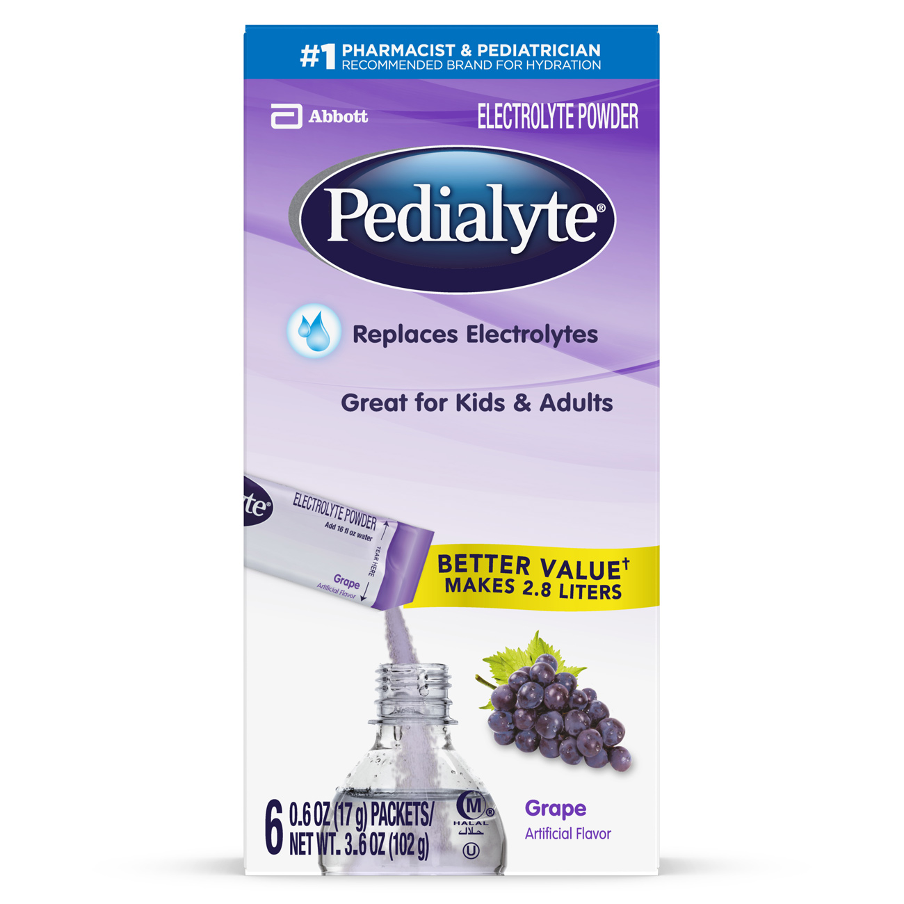 Pedialyte Electrolyte Powder Grape 0.6 oz Packet (Pack of 6)