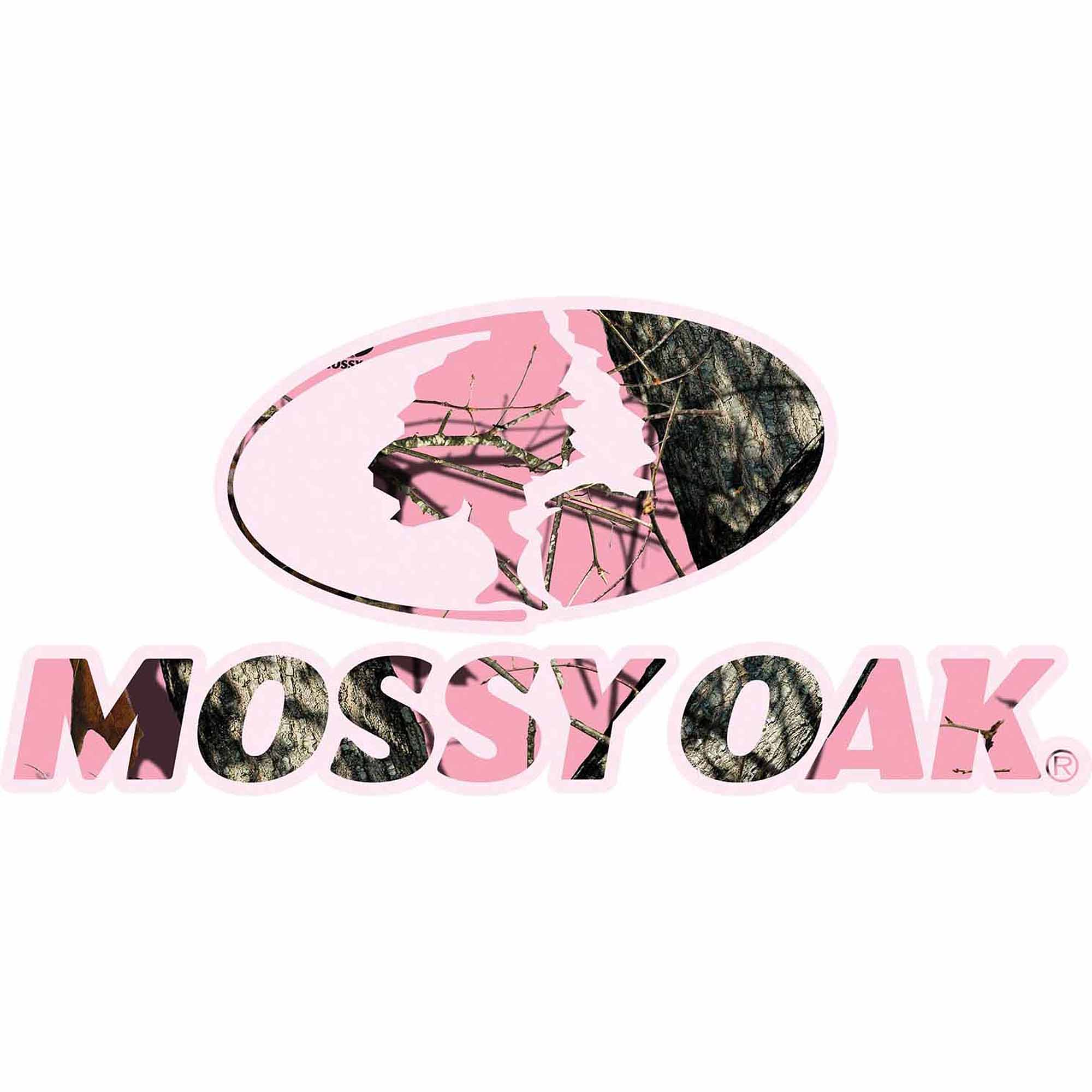 Mossy Oak Graphics Camo Logo With Pink Large 16.5X7.5 Decal