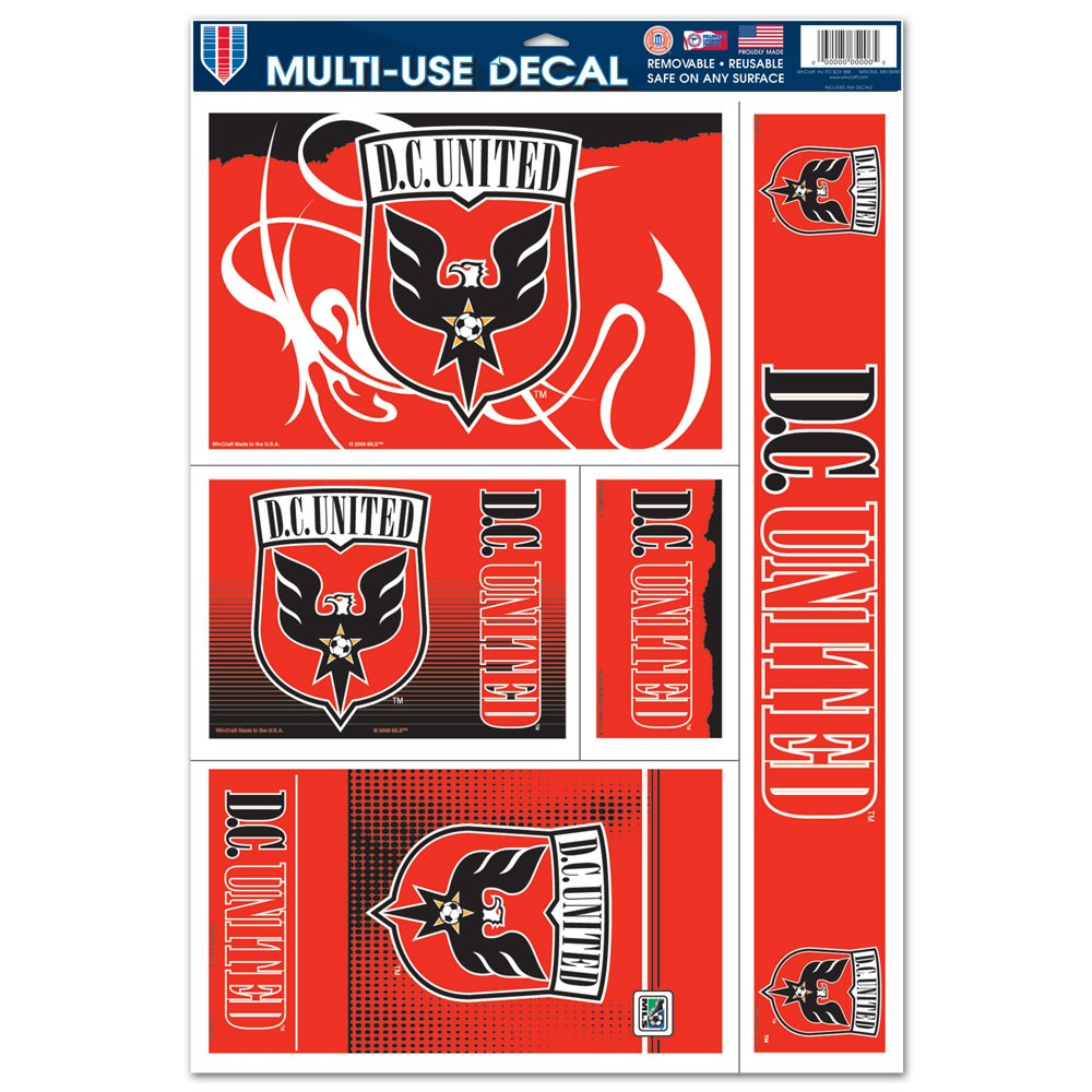 D.C. United Official MLS 11 inch x 17 inch  Car Window Cling Decal by Wincraft