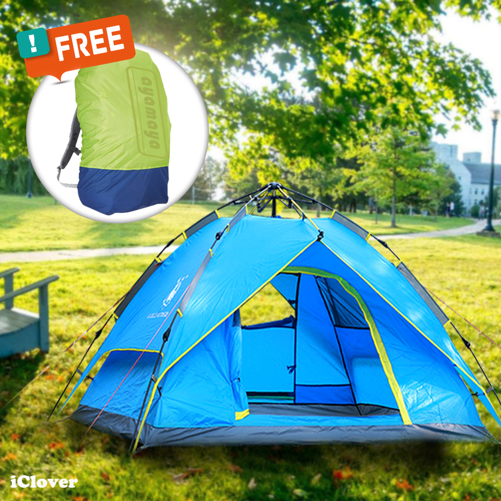 Waterproof Hydraulic Automatic C&ing Tent + Free Backpack Rain Cover IClover 3-4 People & Waterproof Hydraulic Automatic Camping Tent + Free Backpack Rain ...