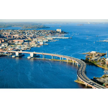 South Bay Shopping Center (Aerial of downtown Portland Maine showing Maine Medical Center Commercial street Old Port Back Bay and the Casco Bay Bridge from South Portland Poster Print by Panoramic)