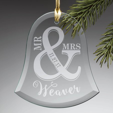- Personalized Mr. & Mrs. Wedding Bell Glass Ornament