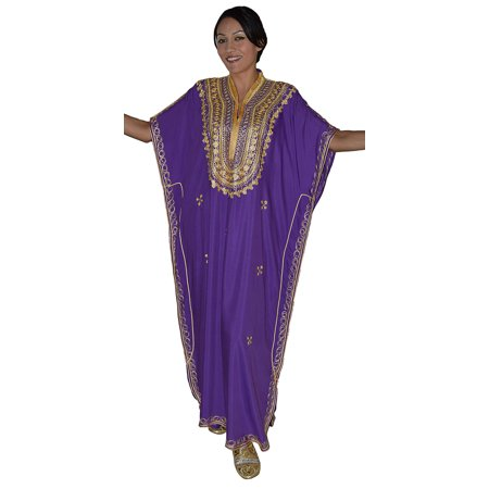 Moroccan Caftan Hand Made Breathable Cotton with Gold Hand Embroidery kaltoum Long Purple