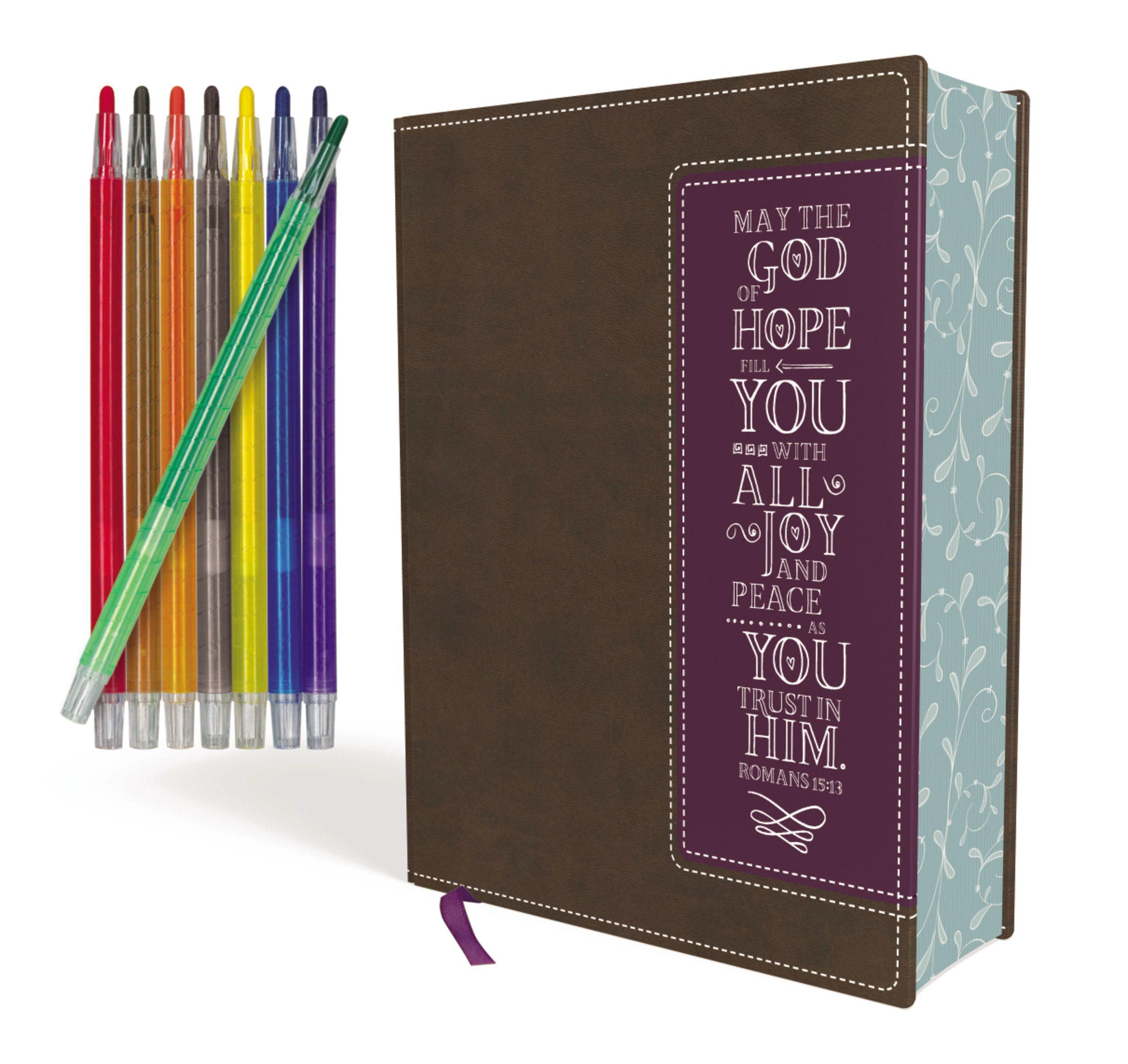 Niv, Beautiful Word Coloring Bible and 8-Pencil Gift Set, Leathersoft, Brown: Hundreds of Verses to Color