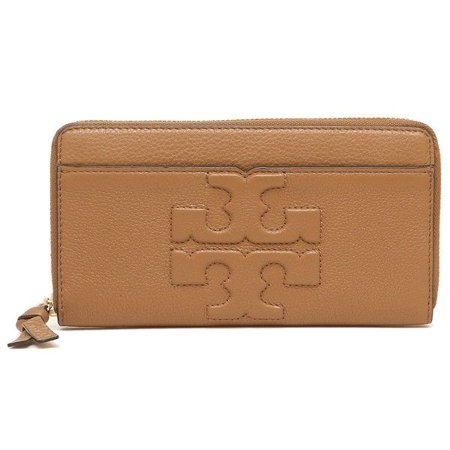 Fabric Continental Wallet - NEW TORY BURCH (48312) BOMBE-T ZIP CONTINENTAL BARK PEBBLED LEATHER WALLET BAG