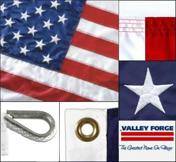 American Flag 10ft x 15ft Sewn Nylon by Valley Forge Flag No Additions