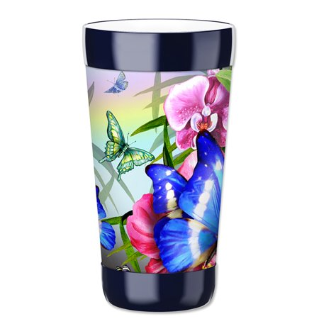 Mugzie 16-Ounce Tumbler Drink Cup with Removable Insulated Wetsuit Cover - Blue Butterfly