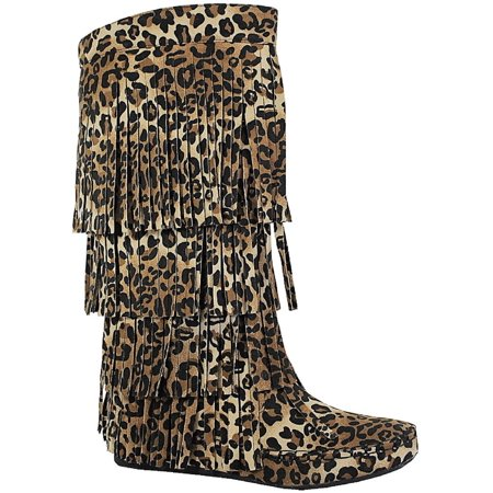 Fringed Womens Boots (Mudd-55 Womens 4 Layer Fringe Flat Boots Moccasin Mid Calf Comfy Boots Leopard )