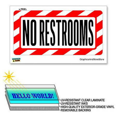 No Restrooms   12 In X 6 In   Laminated Sign Alert Warning Business Store Sticker