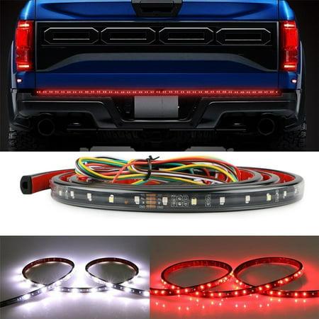 GTP 60 Inch Truck Tailgate LED Light Bar  Flexible Strip Running Turn Signal Brake Reverse Tail light for Pickup Trailer SUV RV VAN Car Towing Vehicle, Red/White - Led Tow Lights