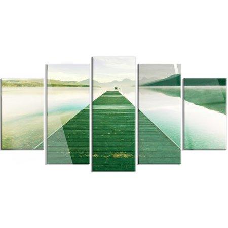 Design Art 'Green Wood Pier at Glacier Park' 5 Piece Photographic Print on Metal Set