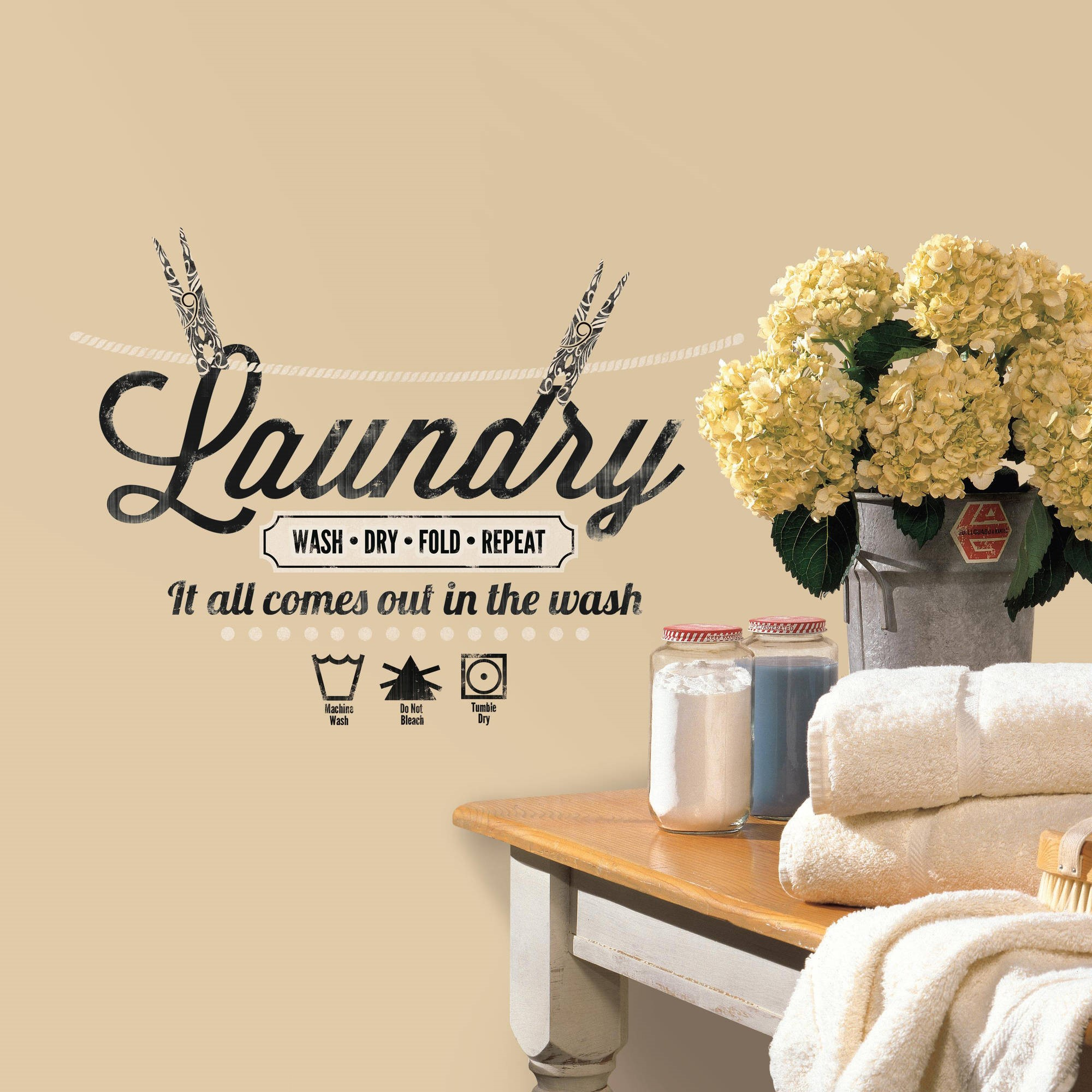 Wall Decal Quotes | Laundry Quote Peel And Stick Wall Decals Walmart Com