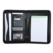 CACAGOO Portable Professional Business Portfolio Padfolio Folder Document Case Organizer A5 PU Leather Zippered Closure with Calculator Card Holder Memo Note Writing Pad