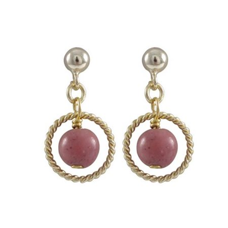 Dlux Jewels Rhodonite & Pink 6 mm Semi Precious Ball on 10 mm Braided Ring with Gold Plated Sterling Silver Ball Post Earrings, 0.75 in. - image 1 de 1