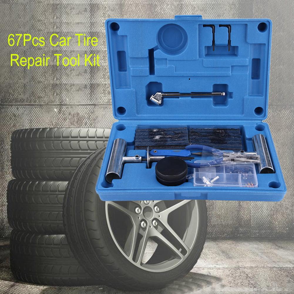 VBESTLIFE 67Pcs Car Tire Repair Tool Kit Tyre Puncture Repair Set for Car Motorcycle Truck Tire Repair Kit Car Tire Repair Tool Kit