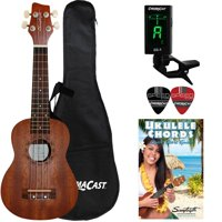 Sawtooth Soprano Mahogany Ukulele with Case, Clip On Tuner, Lesson-Chord Guide, and Picks