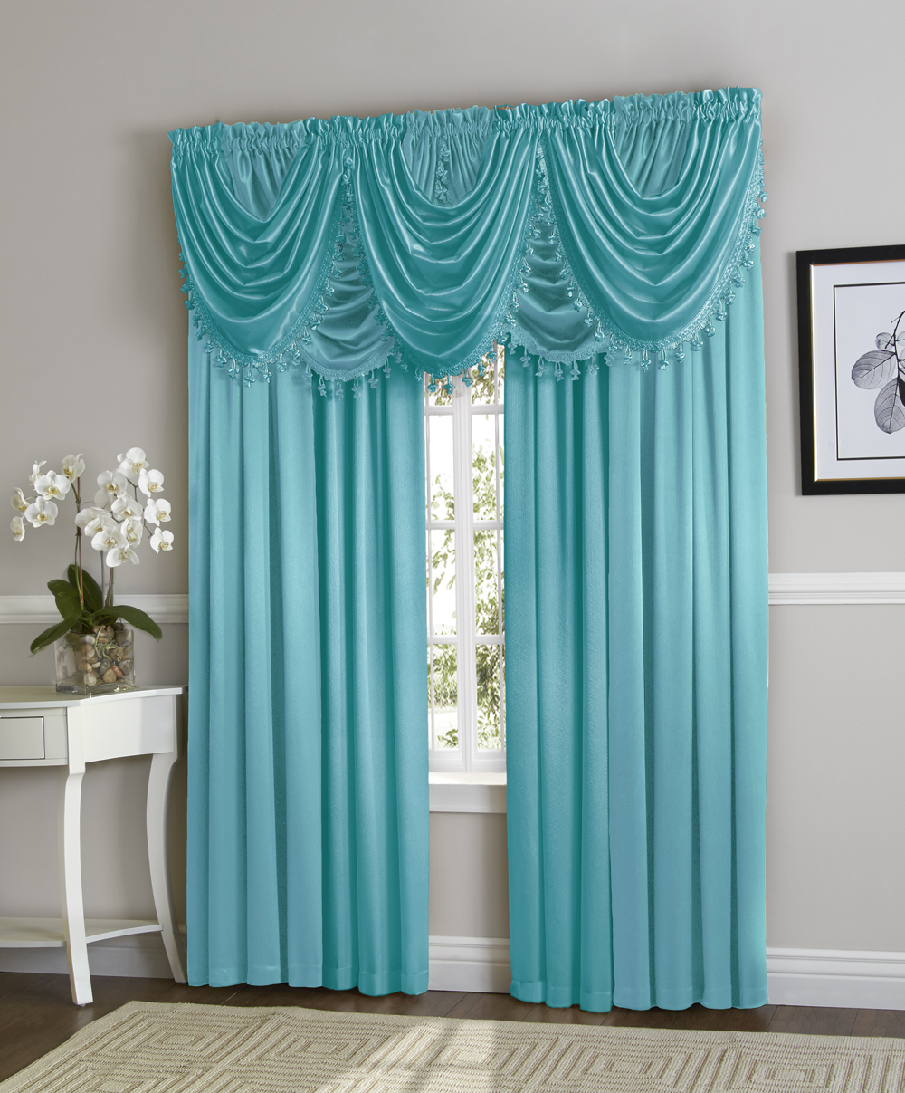 Hyatt Window Curtain & Fringed Valance Complete 9 Piece Window Treatment Set Aqua by