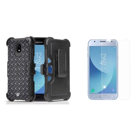 Rugged Case Holster Combo for Samsung Galaxy J3 Orbit (Diamond Plate) with Bubble-Free Tempered Glass Screen Protector and Atom Cloth for Samsung Galaxy J3 Orbit