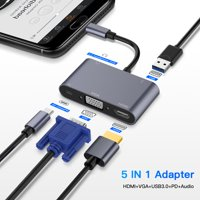 TypeC Adapter 5-in-1 Thunderbolt 3 USB Type C Hub to HDMI VGA 3.5mm Jack USB Adapter for MacBook Pro