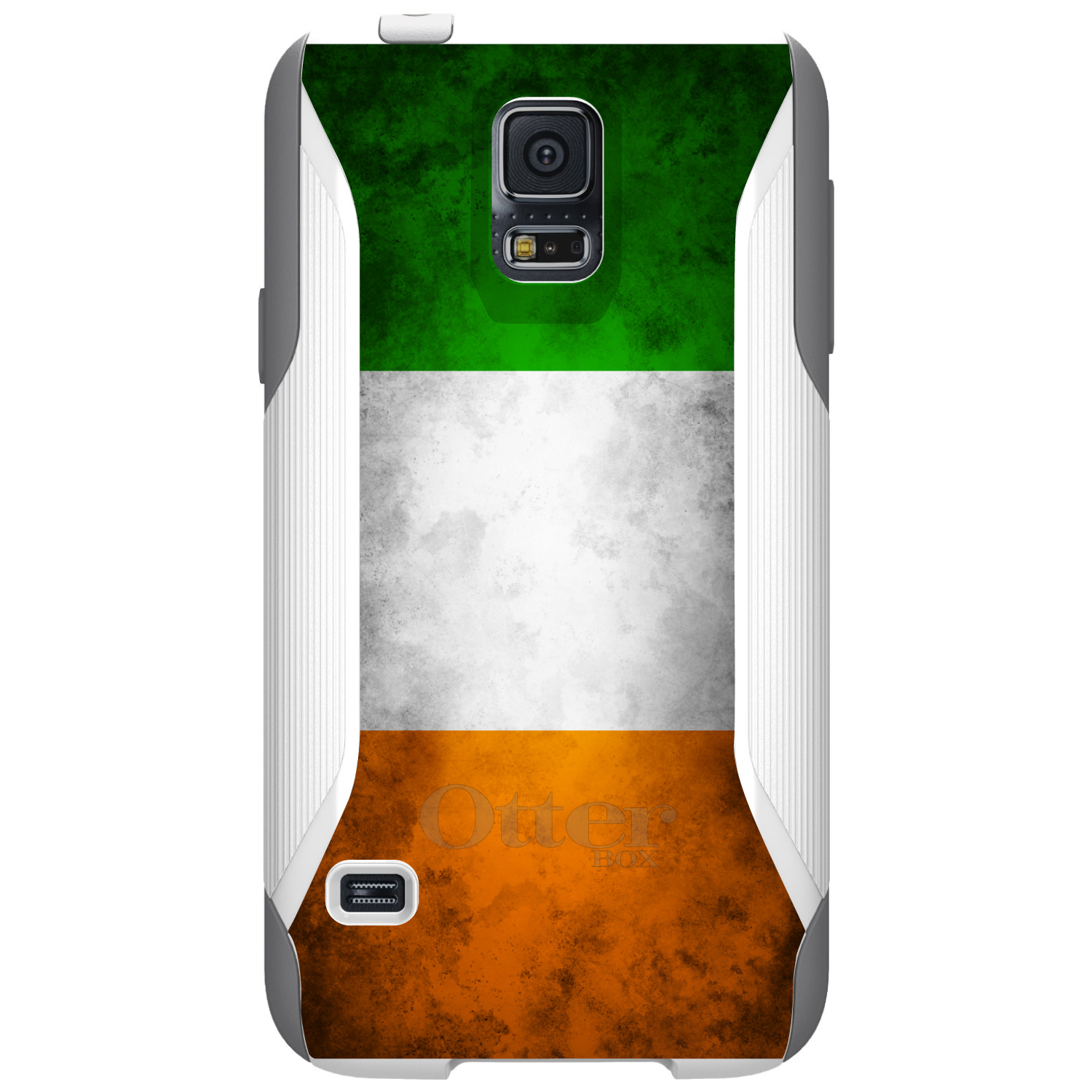 DistinctInk™ Custom White OtterBox Commuter Series Case for Samsung Galaxy S5 - Ireland Old Flag