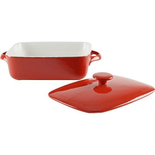 "10 Strawberry Street Sienna 9"" Rectangular Bakeware with Lid, Red"