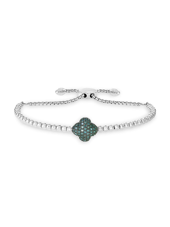 Sterling Silver & Diamond Cross Bolo Bracelet