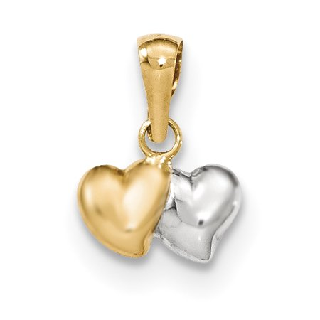 14k Yellow Gold White Double Heart Pendant Charm Necklace Love Multiple Gifts For Women For Her ()
