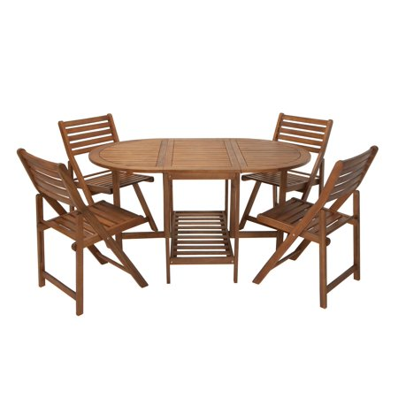 Pleasing Outdoor 5 Piece Dining Set With Chair Storage Folding Acacia Wood Download Free Architecture Designs Rallybritishbridgeorg