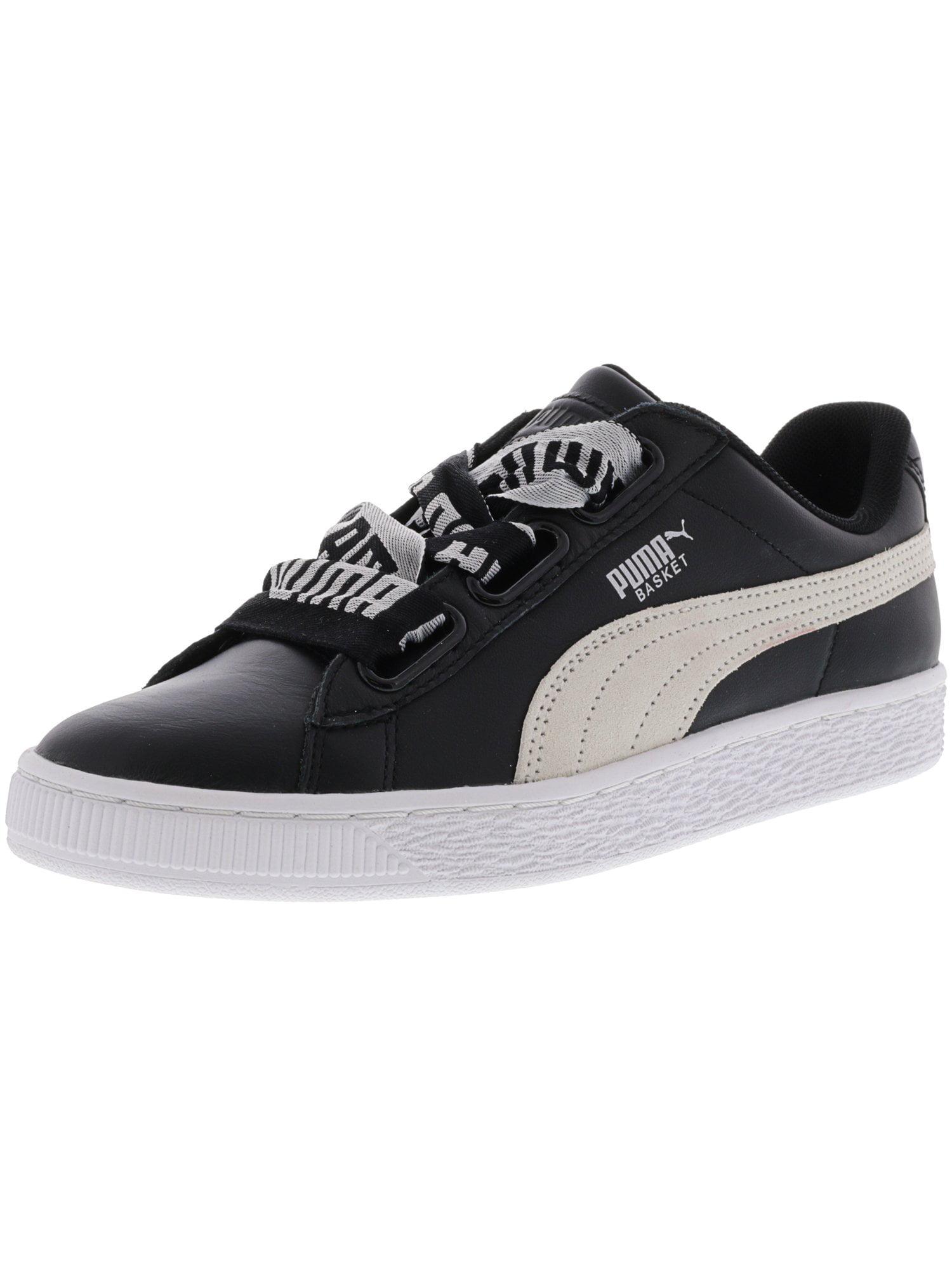 e305debdb5fb PUMA - Puma Women s Basket Heart De Black   White Leather Fashion Sneaker -  8M - Walmart.com