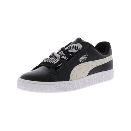 quality design c2fdf 0e460 Puma Women's Basket Heart De Black / White Leather Fashion Sneaker - 8M