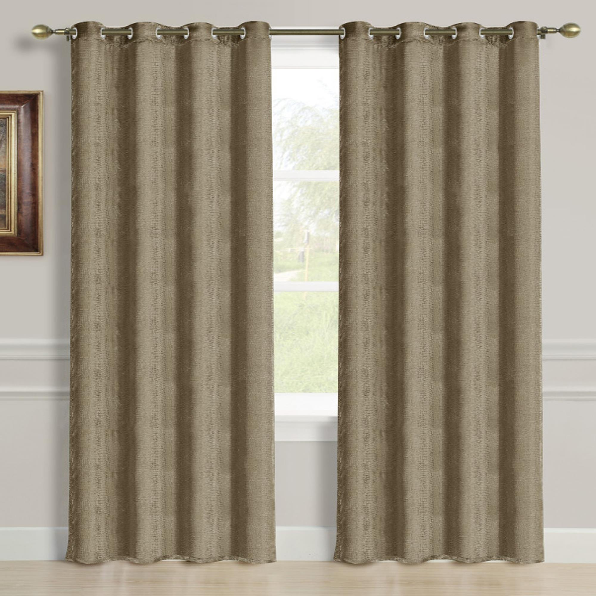 Viper Jacquard 55 x 84 in. Grommet Single Curtain Panel, Taupe by Ramallah Trading Company, Inc.