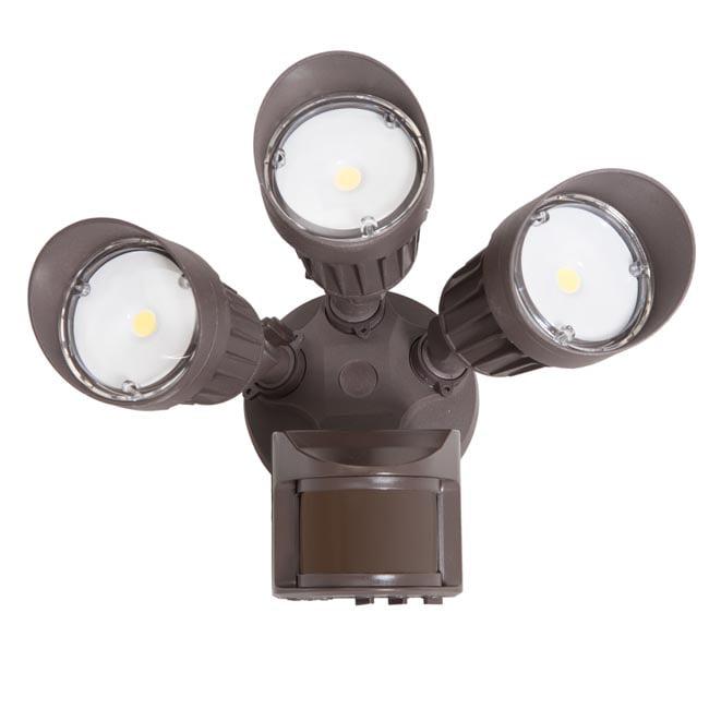 Maxxima 3 Head Outdoor LED Security Light, 2700 Lumens, Motion Sensor, Photocell Sensor, Brown