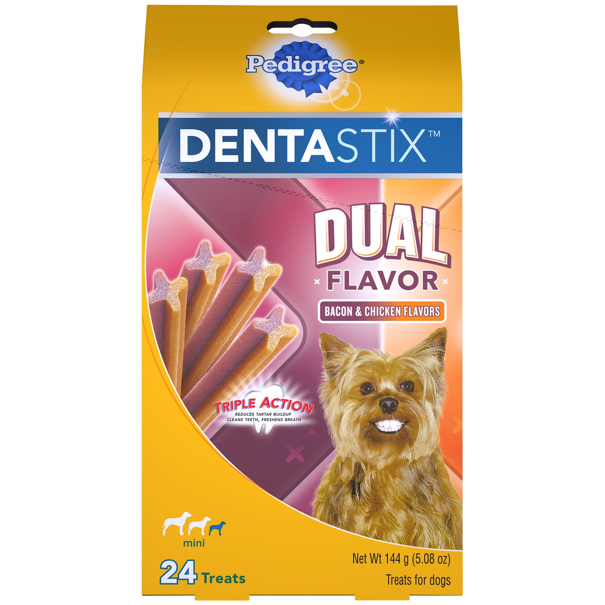 PEDIGREE DENTASTIX Dual Flavor Small Dog Treats, Bacon & Chicken Flavors, 5.08 oz. Pack (24 Treats)