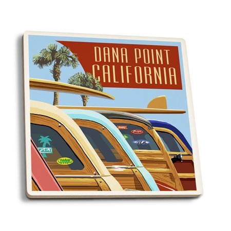Dana Point  California   Woodies Lined Up   Lantern Press Poster  Set Of 4 Ceramic Coasters   Cork Backed  Absorbent