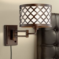 Franklin Iron Works Rissani Oil Rubbed Bronze Double Shade Swing Arm Wall Lamp