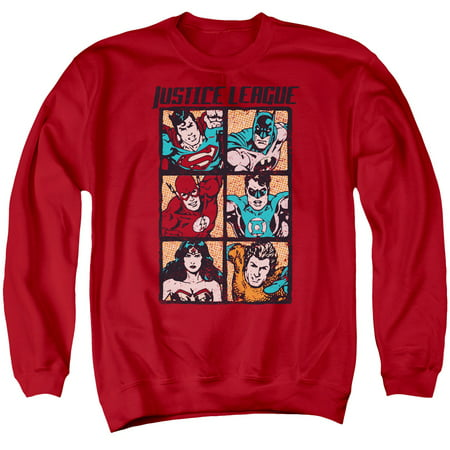 JLA/ROUGH PANELS - ADULT CREWNECK SWEATSHIRT - RED - 3X