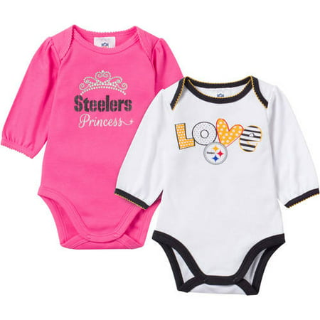 6e14f17e2 NFL Pittsburgh Steelers Baby Girls 2-Pack Long Sleeve Bodysuit - Walmart.com
