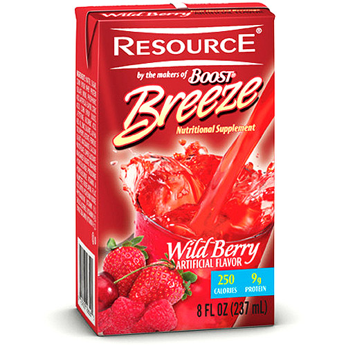 Resource Breeze, Clear liquid nutrition beverage, Wild Berry 27 X 8-Ounce