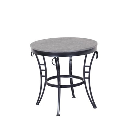 Emerald Cathedral - Emerald Home Emmerson Cathedral Gray and Black End Table with Round Table Top And Metal Legs