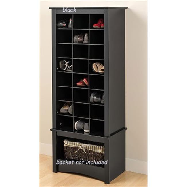 Prepac Mfg BUSR-0008-1 Black Tall Shoe Cubbie Cabinet