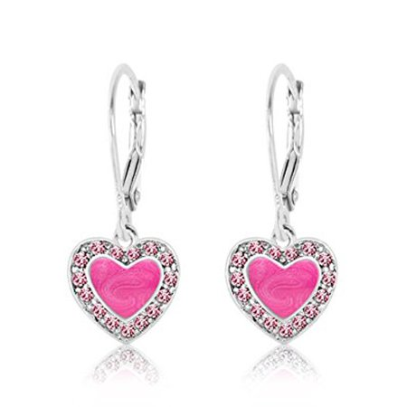 Children's Earrings - 925 Sterling Silver with a White Gold Tone Pink Enamel Heart with Surrounding Crystals Leverback Earrings MADE WITH SWAROVSKI ELEMENTS Kids, Children, Girls, Baby (Swarovski Earrings For Baby)