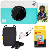 kodak printomatic instant camera (blue) basic bundle + zink paper (20 sheets) + deluxe case + comfortable neck strap