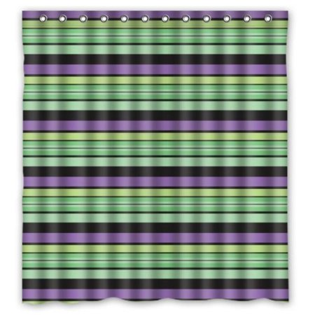 Simple Bathroom Green Purple Stripes Shower Curtain 66x72 Waterproof Polyester Fabric