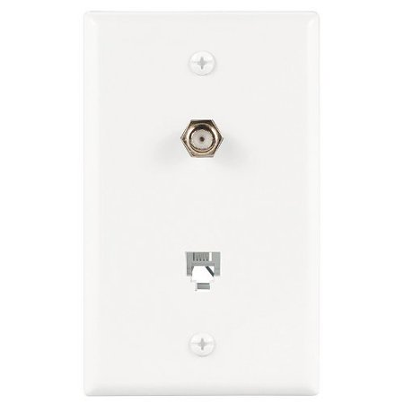Cooper 3535-4W White Combination Coax Jack and Four Wire Telephone Jack Wall - Combination Plug