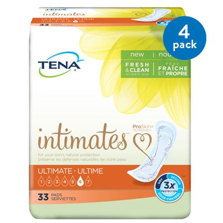 - (4 Pack) Tena Incontinence Pads for Women, Ultimate, 33 Count