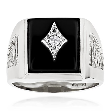 14k Gold Onyx & Diamond Ring (Black Square Natural Onyx And Real 0.1 Ctw Diamond 14K Mens Ring For Him (White Gold Size)