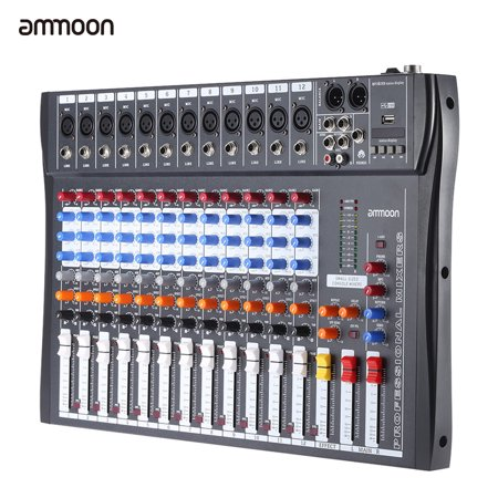 4 Channel Microphone Mixer (ammoon 120S-USB 12 Channels Mic Line Audio Mixer Mixing Console USB XLR Input 3-band EQ 48V Phantom Power)