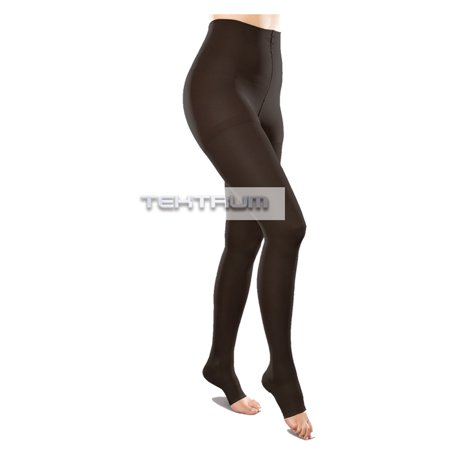 Tektrum Waist High Firm Graduated Compression Pantyhose Medical Stockings 23-32mmhg for Men and Women - Open Toe, Black, Large US/X-Large -